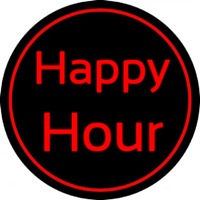 Red Happy Hour Neon Sign