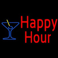 Red Happy Hour With Blue Martini Glass Neon Sign