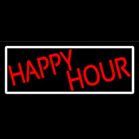 Red Happy Hour With White Border Neon Sign