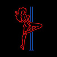 Red Hot Girl With Poll Neon Sign