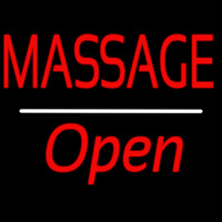 Red Massage Open White Line Neon Sign