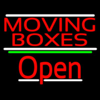 Red Moving Bo es Open 3 Neon Sign