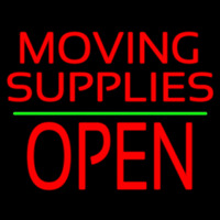 Red Moving Supplies Open Green Line 2 Neon Sign