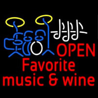 Red Open Music Fovorite Music And Wine Neon Sign