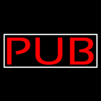 Red Pub With White Border Neon Sign