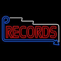 Red Records Block With Arrow Neon Sign