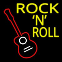 Rock N Roll With Guitar Neon Sign