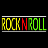 Rock N Roll With White Line Block Neon Sign