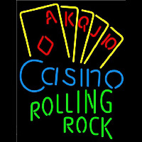 Rolling Rock Poker Casino Ace Series Beer Sign Neon Sign