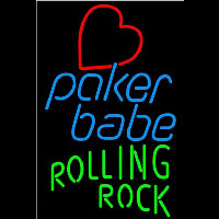 Rolling Rock Poker Girl Heart Babe Beer Sign Neon Sign