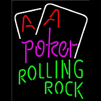 Rolling Rock Purple Lettering Red Aces White Cards Beer Sign Neon Sign