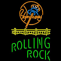 Rolling Rock Single Line Logo New York Yankees Beer Sign Neon Sign