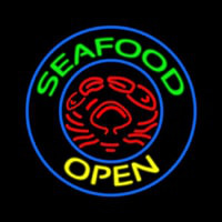 Round Green Seafood Open Neon Sign