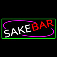 Sake Bar With Green Border Neon Sign
