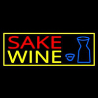 Sake Wine With Bottle And Glass Neon Sign