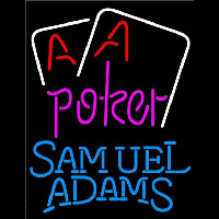 Samuel Adams Purple Lettering Red Aces White Cards Beer Sign Neon Sign