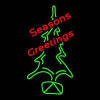 Seasons Greetings With Christmas Tree Neon Sign