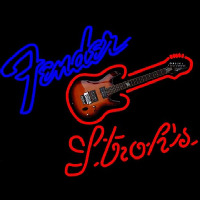 Strohs Fender Guitar Beer Sign Neon Sign