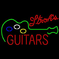 Strohs Guitar Flashing Beer Sign Neon Sign
