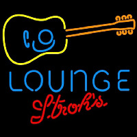 Strohs Guitar Lounge Beer Sign Neon Sign