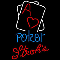 Strohs Rectangular Black Hear Ace Poker Beer Sign Neon Sign