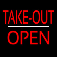 Take Out Open White Line Neon Sign