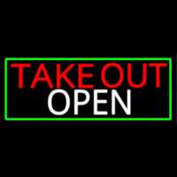Take Out Open With Green Border Neon Sign