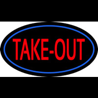 Take Out Oval Neon Sign