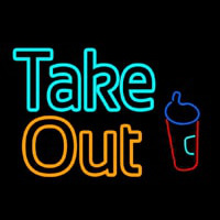 Take Out With Wine Glass Neon Sign