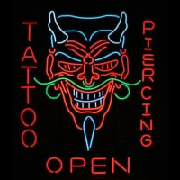 Tattoo Body Piercing Shop OPEN Neon Sign