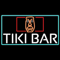 Tiki Bar Sculpture With Turquoise Border Real Neon Glass Tube Neon Sign