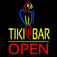 Tiki Bar With Parrot Open Neon Sign