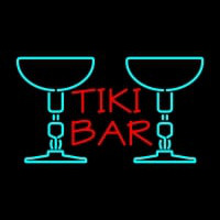 Tiki Bar with Two Martini Glasses Neon Sign
