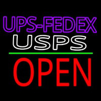 Ups Fede  Usps With Open 1 Neon Sign
