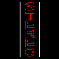 Vertical Red Stereo Block White Line Neon Sign