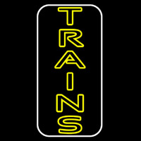Vertical Yellow Trains Neon Sign
