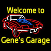 Welcome to Genes Garage Car Logo Neon Sign