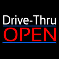 White Drive Thru Red Open Neon Sign