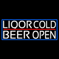 White Liquors Cold Beer With Blue Border Neon Sign