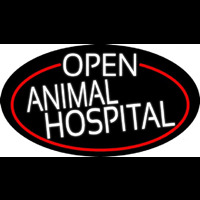 White Open Animal Hospital Oval With Red Border Neon Sign
