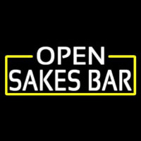 White Open Sakes Bar With Blue Border Neon Sign
