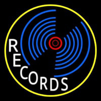 White Records Block Yellow Border 1 Neon Sign