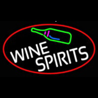 Wine Spirits Oval With Red Border Neon Sign