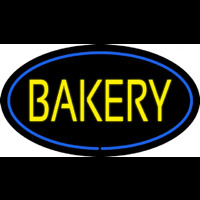 Yellow Bakery Oval Blue Neon Sign