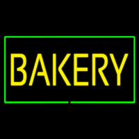 Yellow Bakery Rectangle Green Neon Sign