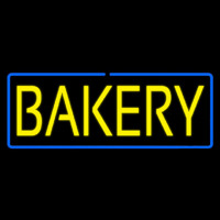 Yellow Bakery With Blue Border Neon Sign