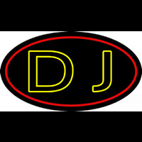 Yellow Dj Double Stroke Neon Sign