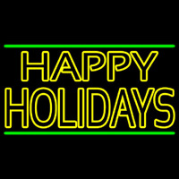 Yellow Double Stroke Happy Holidays Neon Sign