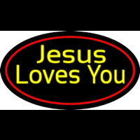 Yellow Jesus Loves You Neon Sign