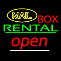 Yellow Mail Block Bo  Rental Open 2 Neon Sign